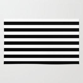 Black and White Horizontal Strips Rug