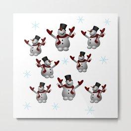 Snowmen and Snowflakes Metal Print