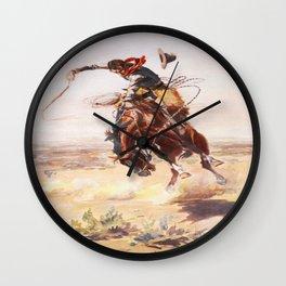 Vintage Western Cowboy Bronc Rider C.M. Russell Wall Clock