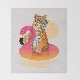 Chillin (Flamingo Tiger) Throw Blanket