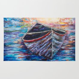 Wooden Boat at Sunrise - original oil painting with palette knife #society6 #decor #boat Rug