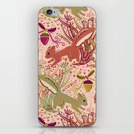 Squirrel in Woodland Fern Forest , Cute Squirrels Love hidden among the Acorn Nuts & Plants iPhone Skin