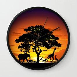Wild Animals on African Savanna Sunset  Wall Clock