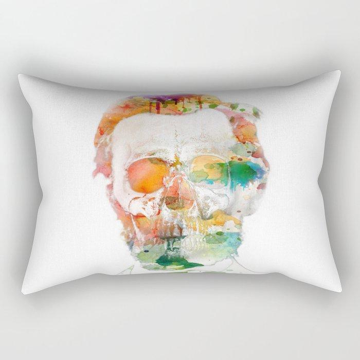 Abraham (Abe) Lincoln Skull Watercolor Rectangular Pillow