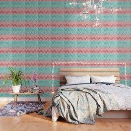 Summer Vibes Glitter Chevron #1 #coral #mint #shiny #decor #art #society6 Wallpaper