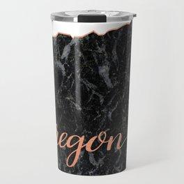 Oregon Rosegold Marble Map Outline Travel Mug