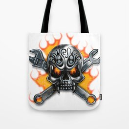 Flaming Skull and Wrenches Tote Bag