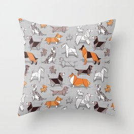Origami doggie friends // grey linen texture background Throw Pillow