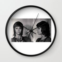 Jane Fonda Mugshot Wall Clock