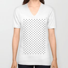Minimal - Small black polka dots on white - Mix & Match with Simplicty of life Unisex V-Neck