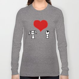 Cute boy and girl love doodle Long Sleeve T-shirt