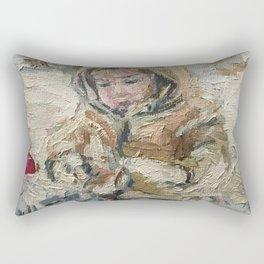 A child on a walk Print Original Oil Painting on Canvas Rectangular Pillow