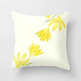 yellow botanical crocus watercolor Throw Pillow
