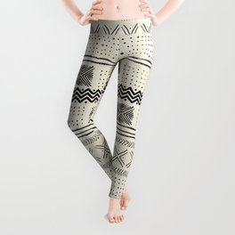 Mud Cloth Geometric Stripe in Cream Leggings