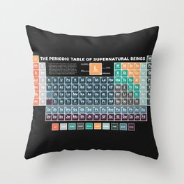 Periodic Table of Supernatural Beings Throw Pillow
