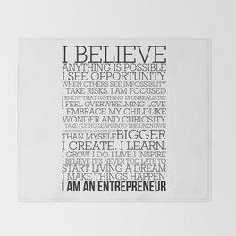 Entrepreneur Manifesto Throw Blanket