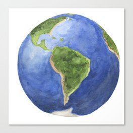 Watercolor  painting of planet earth Canvas Print