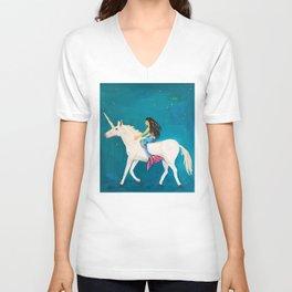 To the Land of Mermaids and Unicorns Unisex V-Neck