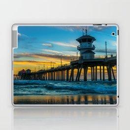 Winter Sunset at Huntington Beach Pier. Laptop & iPad Skin
