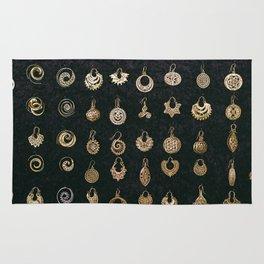 Gold Earrings in Safed Rug