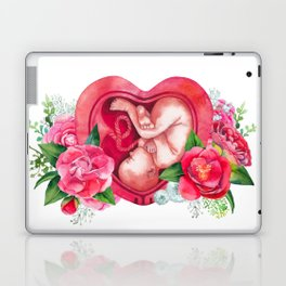Watercolor fetus inside the womb Laptop & iPad Skin