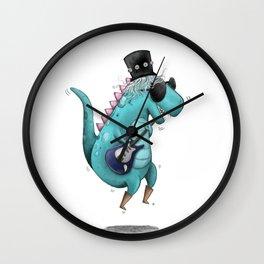 Rockstar Dino Illustr Wall Clock