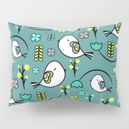 Cute birds and flowers Pillow Sham