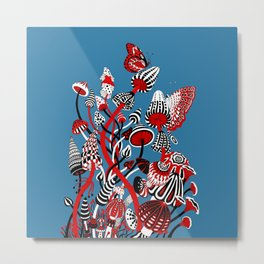 Magic Mushroom Red black blue Metal Print