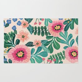 Colorful Tropical Vintage Flowers Abstract Rug