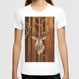 Proud deer in forest 1- Watercolor illustration T-shirt