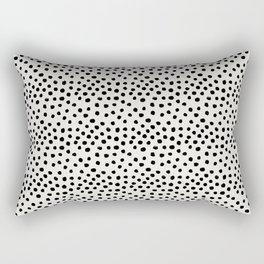 Preppy brushstroke free polka dots black and white spots dots dalmation animal spots design minimal Rectangular Pillow