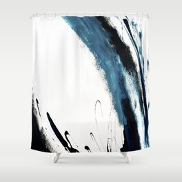 Reykjavik: a pretty and minimal mixed media piece in black, white, and blue Shower Curtain
