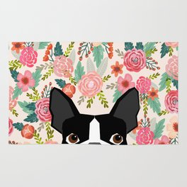 Boston Terrier floral dog head cute pet portrait gifts for boston terriers must haves Rug