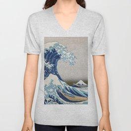 Under the Wave off Kanagawa - The Great Wave - Katsushika Hokusai Unisex V-Neck