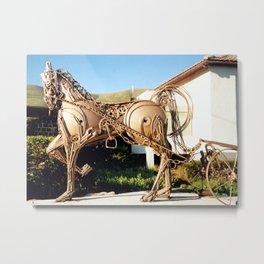 Horse & Plough by Shimon Drory Metal Print