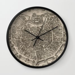 Vintage Map of Milan Italy (1575) Wall Clock