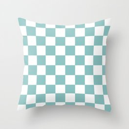 Chalky Blue Checkers Pattern Throw Pillow