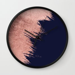 Navy blue abstract faux rose gold brushstrokes Wall Clock