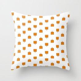 Orange Birkin Vibes High Fashion Purse Illustration Throw Pillow