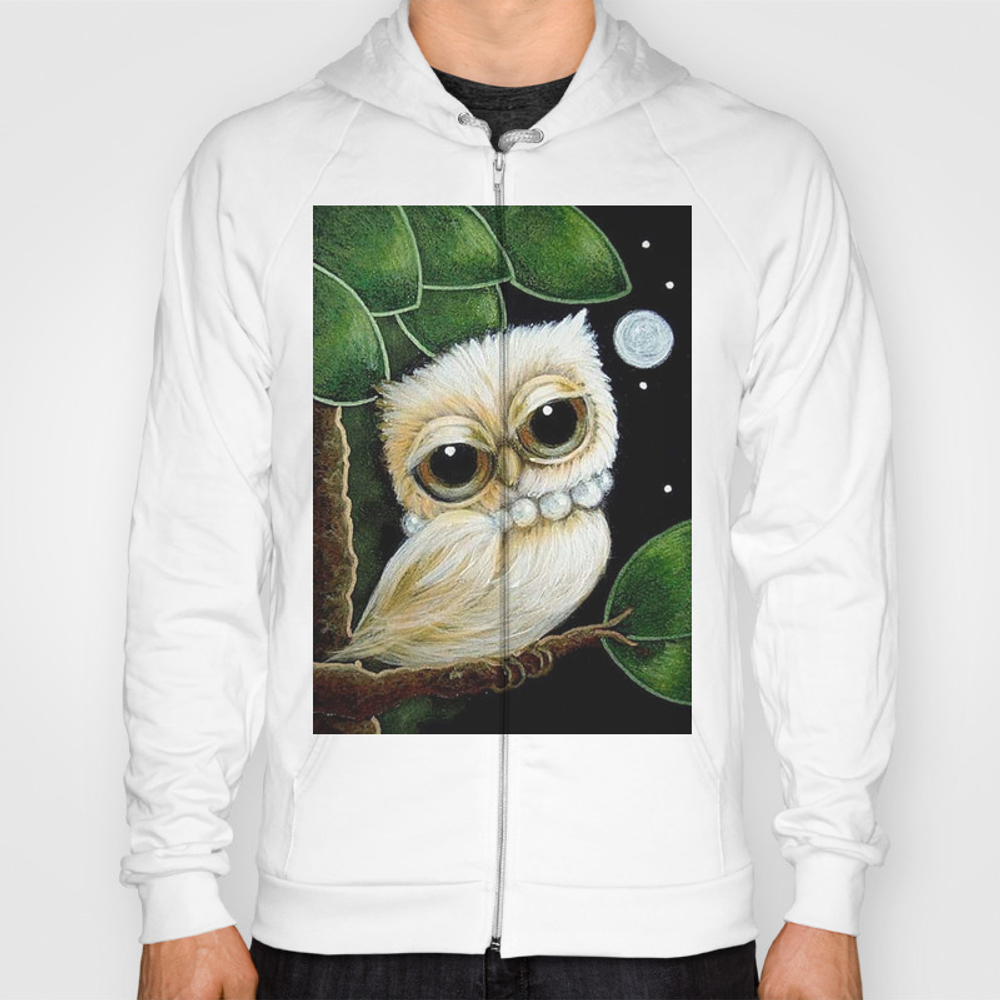 Blondie Tiny Owl With Pearls Necklace Hoody by Cyracancel SSR8602317