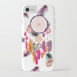 Hipster Watercolor Dreamcatcher Feathers Pattern iPhone Case