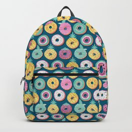 Undercover donuts // turquoise background pastel colors fruit donuts Backpack