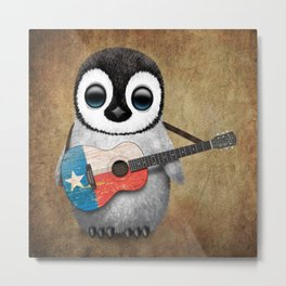 Baby Penguin Playing Texas Flag Guitar Metal Print