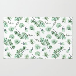 Pastel green watercolor modern orchid floral pattern Rug