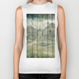 Rustic Country Wood Mountains Landscape Biker Tank