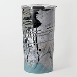 Riptide: an abstract mixed media piece in black, white, brown and blue Travel Mug