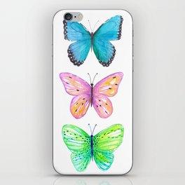 Vibrant butterflies watercolor iPhone Skin