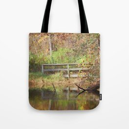 Bridge Over Oak Creek Pond Tote Bag
