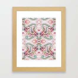 Lily, Leaf & Triangle Pattern – multi-color version Framed Art Print