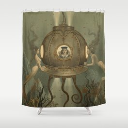 """The Bathysphere"" by David Delamare Shower Curtain"